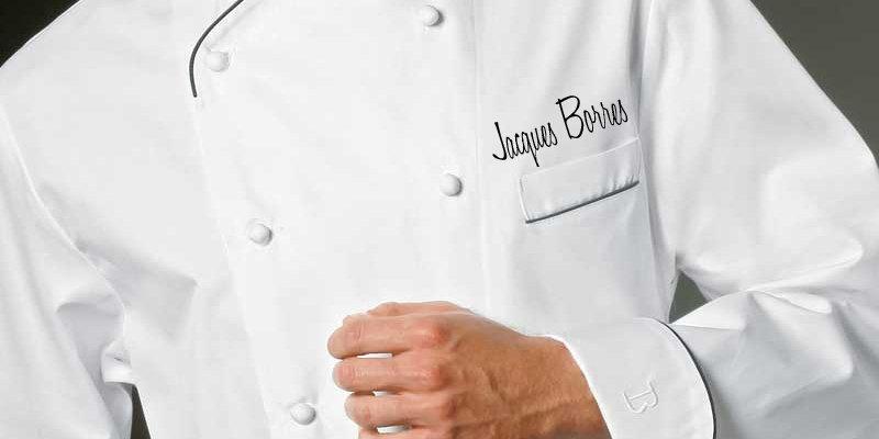 veste de cuisinier brodée