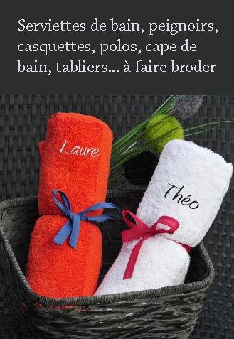 cadeau brodé, broderie sur serviettes